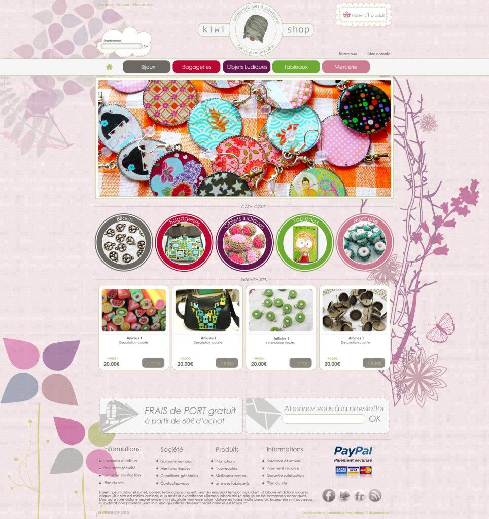 Création boutique de bijoux Prestashop KIWI SHOP, freelance Prestashop